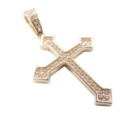 14 karaat gouden kruis met zirkonia