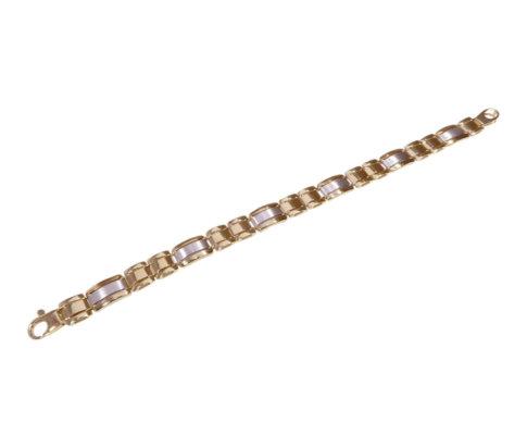 14 karaats heren armband bicolor