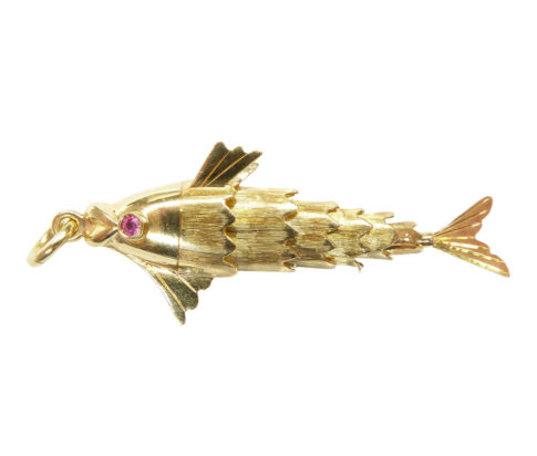 18 karaat gouden vis hanger met toermalijn