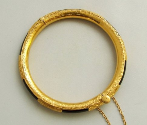23 karaat gouden armband met onyx