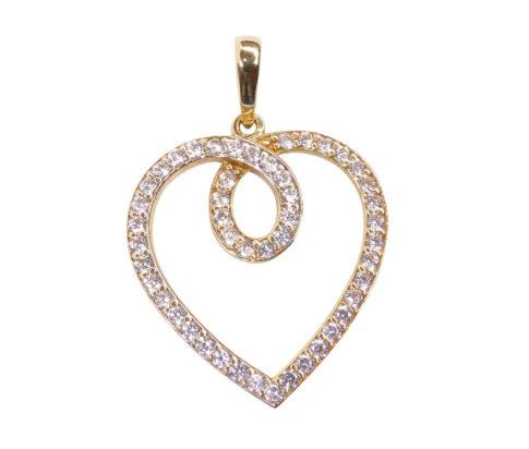Bicolor gouden hart hanger met zirkonia