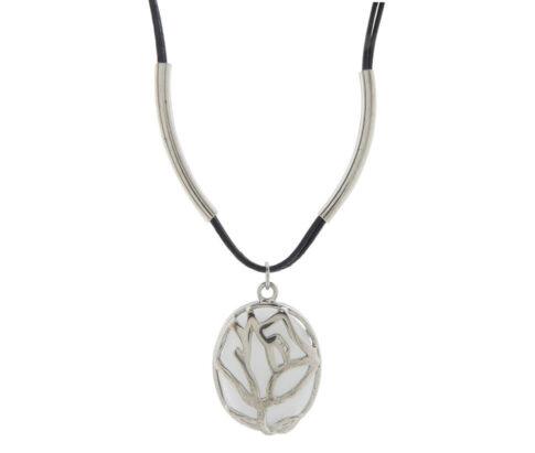 Christian zilveren hanger met leer