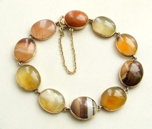 Geel gouden armband met agaat