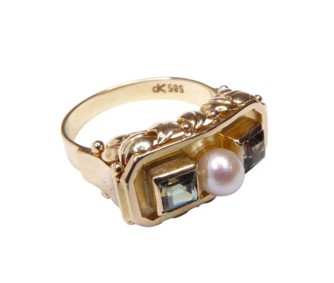 Geel gouden ring met parel en beryl