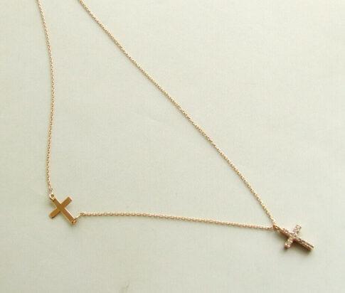Rose gouden ketting met zirkonia kruis