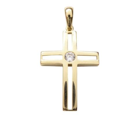 Gouden kruis met solitaire zirkonia