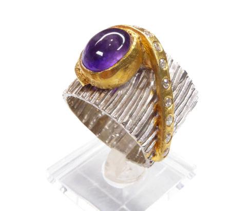 Zilveren amethyst ring met zirkonia