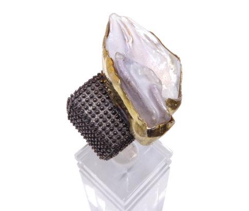 Zilveren double ring met parelmoer