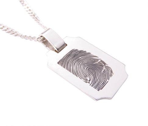 Zilveren fingerprint hanger