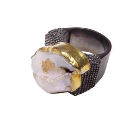 Zilveren parelmoer ring
