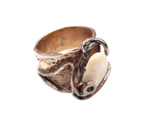 Zilveren ring met gele zeesteen