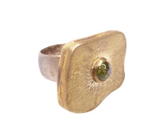 Zilveren ring met groene toermalijn