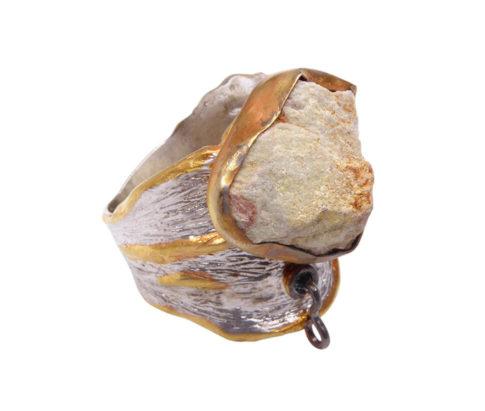 Zilveren ring met grossulaar
