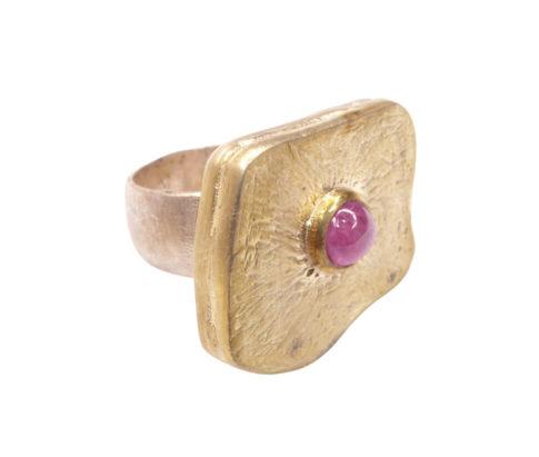 Zilveren ring met rode toermalijn