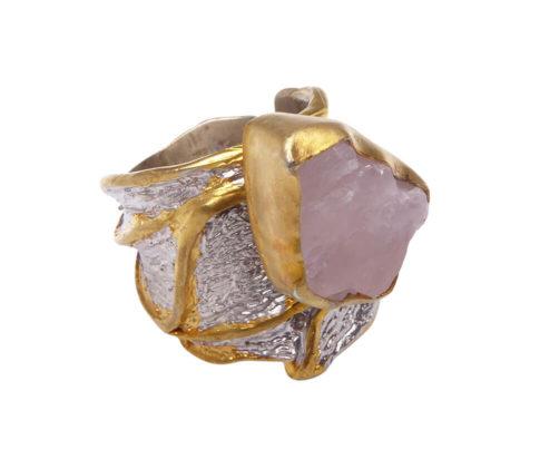 Zilveren ring met rozenkwarts