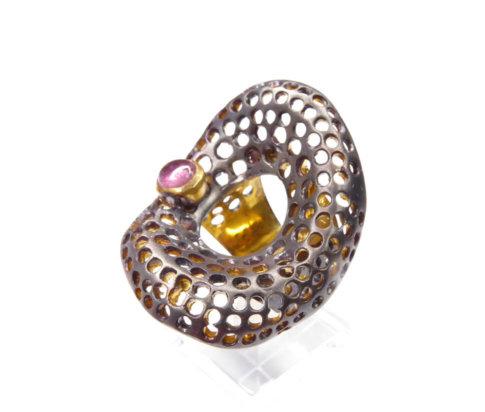 Zilveren ring met toermalijn