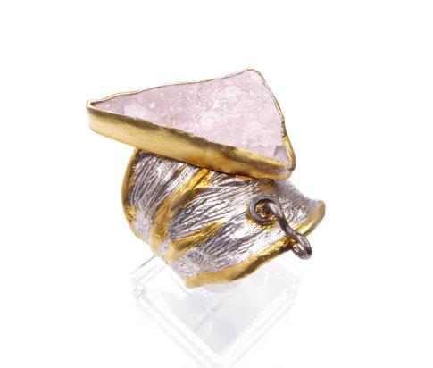 Zilveren rozenkwarts ring