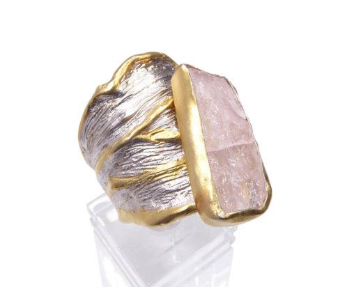 Zilveren ruwe rozenkwarts ring