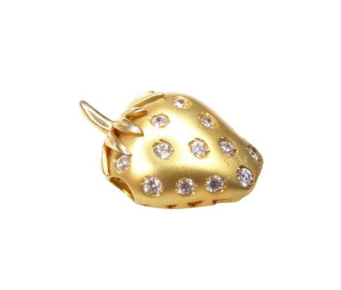 Gouden aardbei hanger met zirkonia