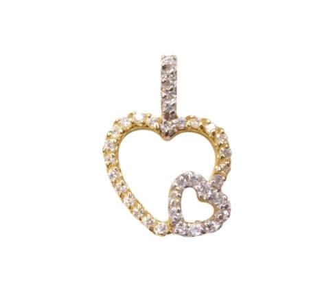 Bicolor gouden hart hanger
