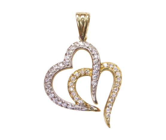 Bicolor gouden harten hangers