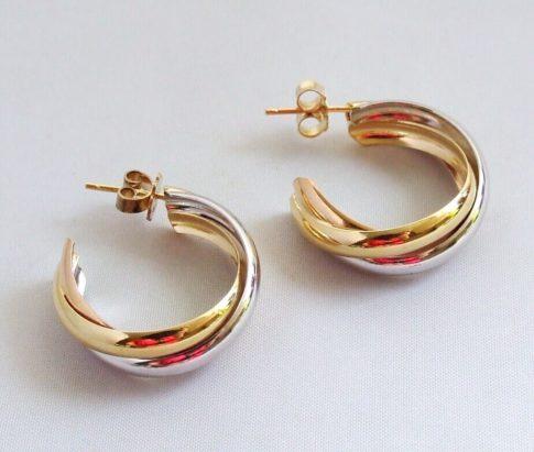 14 karaat bicolor gouden Christian oorbellen