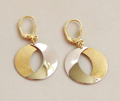14 karaat bicolor gouden oorbellen