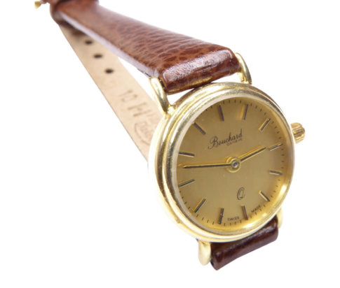 Gouden Bouchard horloge met leren band