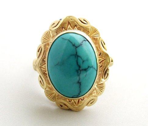 Geel gouden ring met turkoois