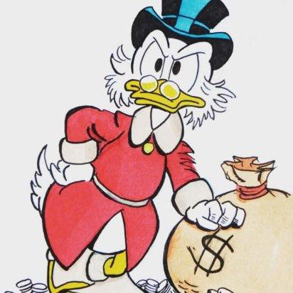 Goud en zilveren Dagobert Duck hanger
