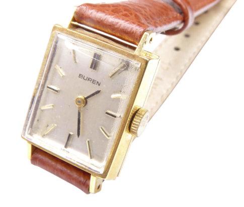 Gouden Buren horloge met leren band