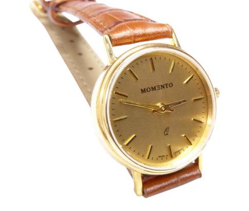 Gouden Memento horloge met leren band