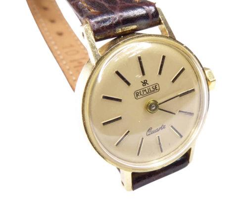 Gouden Repulse horloge met leren band