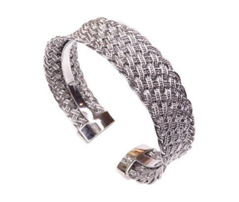 Zilveren klemarmband geweven