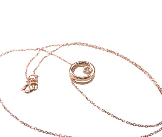 14 karaat rosé gouden ketting cirkel met centrale steen