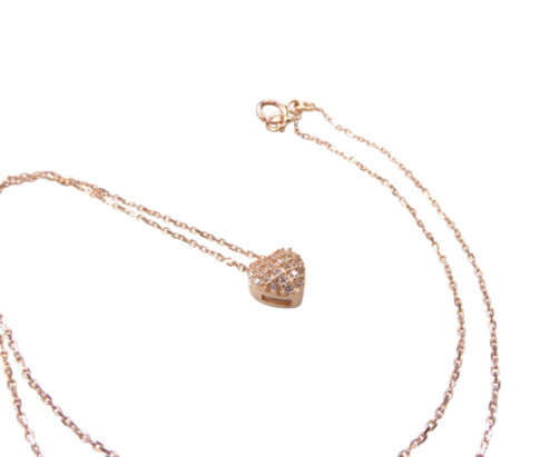 14 karaat rosé gouden ketting hart