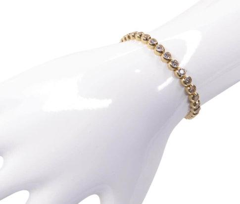 14 karaats gouden tennisarmband met zirkonia