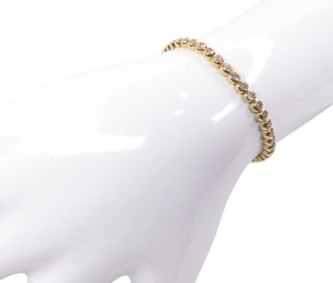 14 karaats gouden zirkonia tennisarmband