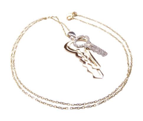 Bicolor gouden zirkonia sleutel hanger
