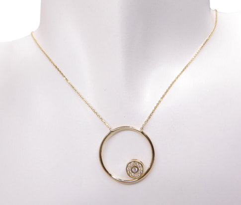Gouden ketting met zirkonia cirkel hanger