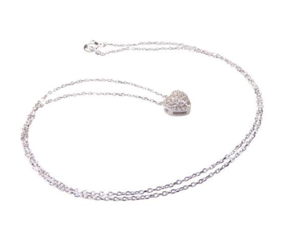 Wit gouden zirkonia harten hanger