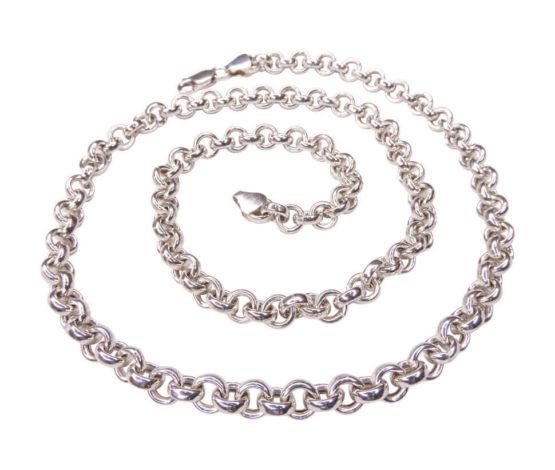 Zilveren collier met schakel