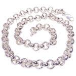 Zilveren jasseron collier met schakel