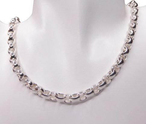 Zilveren jasseron ovaal collier