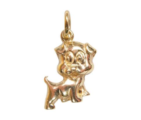 14 karaats gouden hond hanger