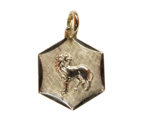 14 karaats gouden leeuw sterrenbeeld hanger