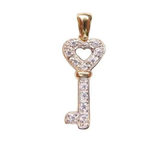 Bicolor gouden sleutel hanger