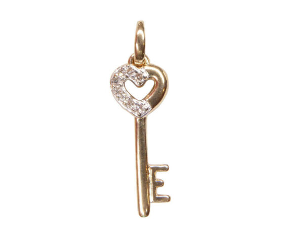 Bicolor gouden sleutel hart hanger