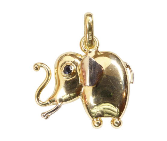 Geel gouden olifant hanger