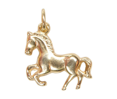 Geel gouden paard hanger